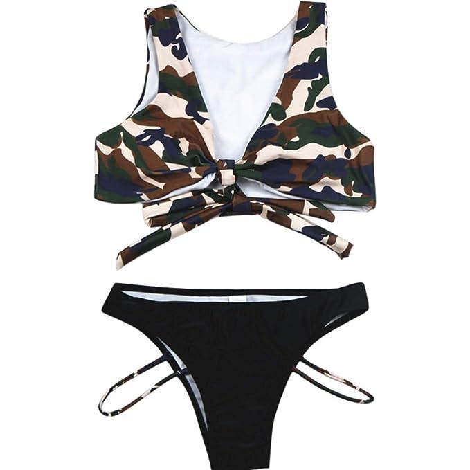 ALIKEEY Mujeres Camuflaje Impresión Tankini Set Bikini Traje De Baño ...