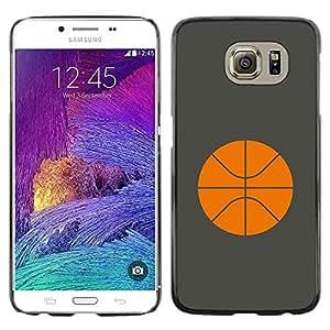 LECELL--Funda protectora / Cubierta / Piel For Samsung Galaxy S6 SM-G920 -- Basketball Orange Minimalist Sport --