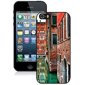 NEW Unique Custom Designed iPhone 5S Phone Case With Venice Street Buildings Red Brick_Black Phone Case