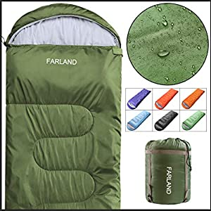 FARLAND Envelope Sleeping Bag-20 Degrees ℉- 3-4 Season Warm & Cool Weather - Summer, Spring, Fall - Lightweight, Waterproof for Adults & Kids - Camping Gear Equipment, Traveling, and Outdoors