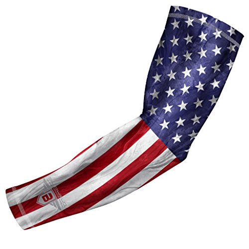 Bucwild Sports USA Flag Compression Arm Sleeve for Boys & Girls - Baseball Basketball Football (1 Sleeve - YM)