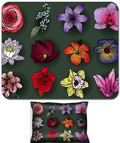 Luxlady Mouse Wrist Rest and Small Mousepad Set, 2pc Wrist Support design IMAGE: 41494075 Set of flowers rose bird cherry tree lilac clematis orchid lily waterlily lotus hibiscus violet apricot (Clematis Lily)