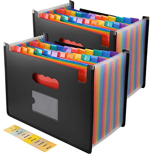 Hot File (File Folder Organizer/24 Pockets Hot Pressing Forming Document Organizer with Cloth Edge Wrap and File Guides, Multi-Color Accordion A4 Size with Expanding Wallet Stand for Business)
