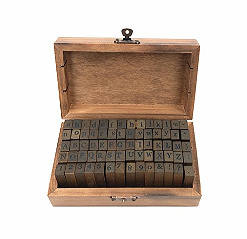 Alphabet Stamps Set,Vintage Wooden Rubber Letter Number and Symbol Diary Stamp Kit for Children DIY Scrapbooking Planner Card Making(70pcs)
