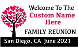 Family Reunion Custom Printed Banner - Tree Hearts Pink (10' x 5')
