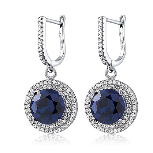 Sterling Silver Round Blue Simulated Sapphire Women's Dangle Earrings (9.48 cttw, 10MM - Simulated Earrings Gems