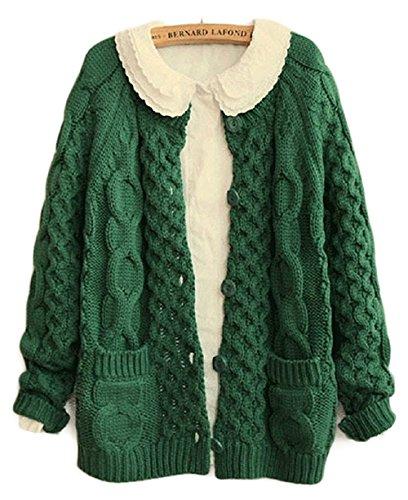 jiajia(ジア ジア) レディース ニット カーディガン 森ガール 編み 模様 ゆったり フィット かわいい 学生風 ビンテージ ニットカーディガン ケーブル編み  4色