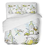 Emvency 3 Piece Duvet Cover Set Breathable Brushed Microfiber Fabric White Wine Tasting Still Life Drawings Food and Drink Scribbles in Pen Bedding Set with 2 Pillow Covers Twin Size