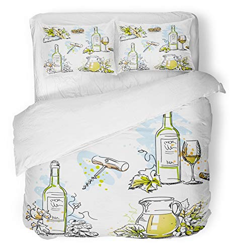 - Emvency 3 Piece Duvet Cover Set Breathable Brushed Microfiber Fabric White Wine Tasting Still Life Drawings Food and Drink Scribbles in Pen Bedding Set with 2 Pillow Covers Twin Size