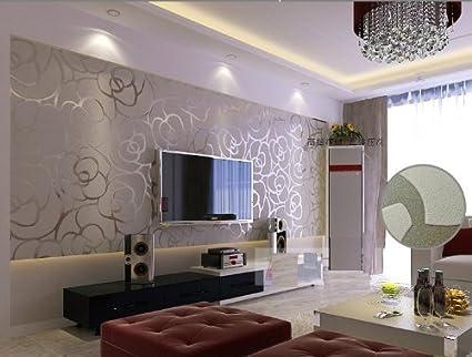 High Grade Rose Flower Pattern Non Woven Flocking Wallpaper Roll Living Room Bedroom Wall Paper Roll Silver Gray Color Qihang Wallpaper