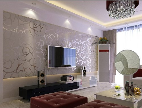 Silver wallpaper for living room for Grey silver wallpaper living room