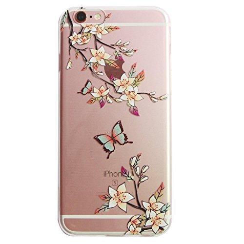 For iphone 7 case,Transparente TPU Coque Silicone Case Ultra Slim Premium Soupe Skin de Protection Pare-Chocs Anti-Choc Hülle pour Apple iPhone 7 (4.7 pouces)-papillon