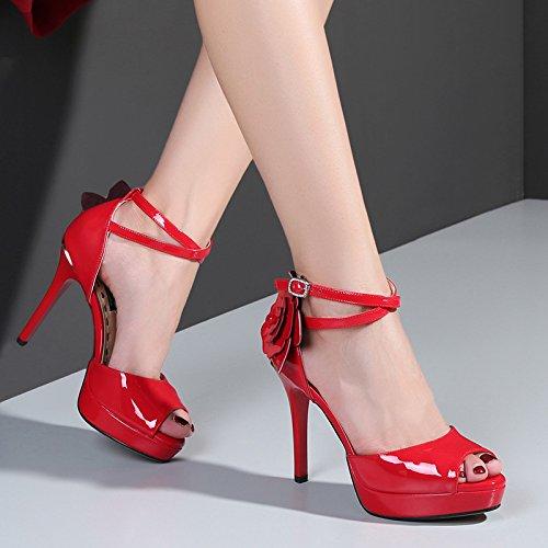AJUNR Moda/Elegante/Transpirable/Sandalias Boca de Pescado la Mesa de Agua 10cm con Tacones Altos a Cargo de Zapatos Red