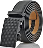 Marino Men's Genuine Leather Ratchet Dress Belt with Automatic Buckle, Enclosed in an Elegant Gift Box - Black - Custom XL: Up to 54