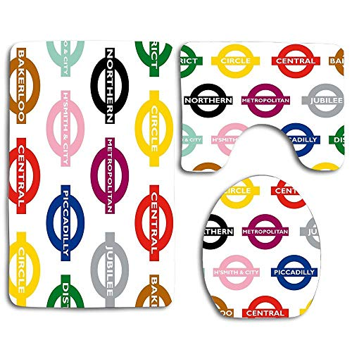 3PC Bath Mats Soft Anti-Slip Shower Bathroom Contour Toilet Lid Cover Rugs - London Underground Signs Design -