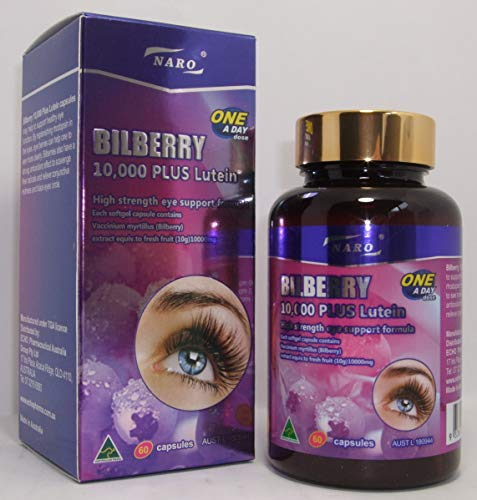 Naro Natural Bilberry Powder Capsules Bilberry Extract 10000mg Plus Lutein High Strength Eye Support Formula 60 Capsules - Antioxidant - Helps With Red Eyes, Black Eyes Circle