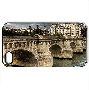 Pont Saint Michel - Case Cover for iPhone 4 and 4s (Bridges Series, Watercolor style, Black)