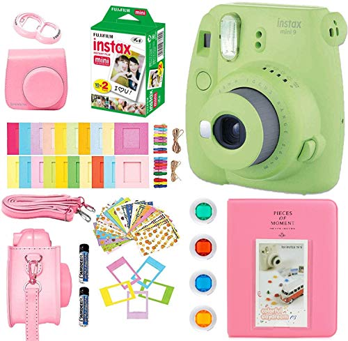 Fujifilm Instax Mini 9 Kids Instant Camera + Fuji Instax Film (20 Sheets) + Accessories Bundle, Case, Batteries, Color Filters, Photo Album, More (Lime Green) from BREXONIC