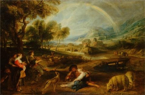 The High Quality Polyster Canvas Of Oil Painting 'Landscape With A Rainbow,1630s By Peter Paul Rubens' ,size: 10x15 Inch / 25x39 Cm ,this High Definition Art Decorative Canvas Prints Is Fit For Gift For Relatives And Home Gallery Art And Gifts