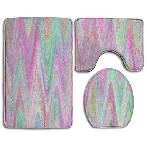 Marbled Paper Chevron Pink Mint Sherbet Watercolor 3pc Soft Comfort Flannel Bathroom Mats,Non Slip Absorbent Toilet Seat Cover Bath Mat Lid Cover Set Carpet Rugs