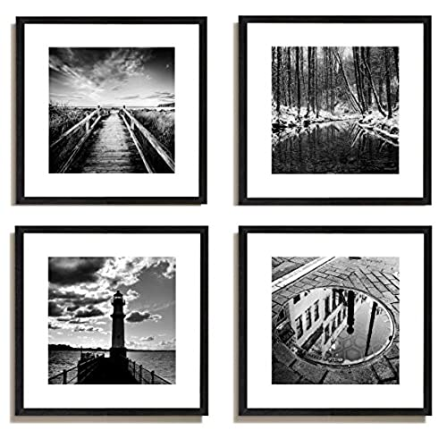 4pcs x black and white famous building motivational office picture photo wood black frame safe lighter plexiglass white mat wall modern art girl gift