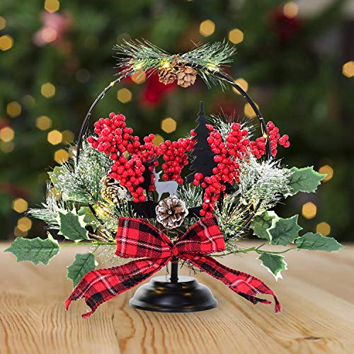 MRah Christmas Table Decoration with Red Berries