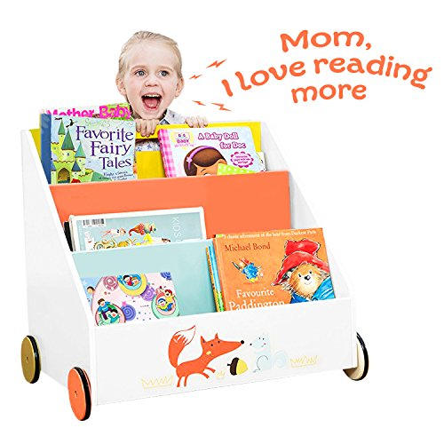 labebe Kid Bookshelf with Wheels, Orange Fox Wood Bookshelf for Kids 1 Year Up, Baby Bookshelf/Child Bookshelf/Toddler Bookshelf Kid Book Display/Bookshelf Kid Wooden/Book Display Stand Kid/Book Rack Big Book Rack