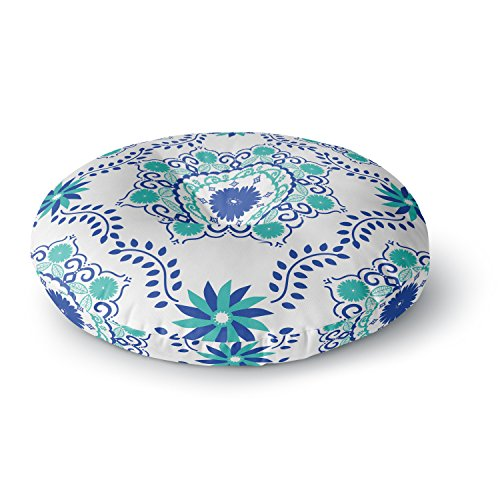 KESS InHouse Anneline Sophia Let's Dance Blue Teal Aqua Round Floor Pillow, 26'' by Kess InHouse
