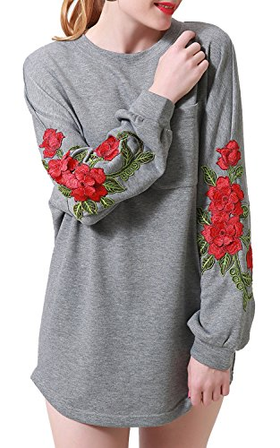 Zevrez Womens Casual Tunic Pullover Floral Long Sleeve Crewneck Sweatshirt Grey Dress