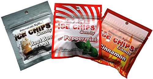 New! Ice Chips Candy in Resealable Pouches (3 Pack Variety) Rootbeer Float, Cinnamon & Peppermint by ICE CHIPS Candy