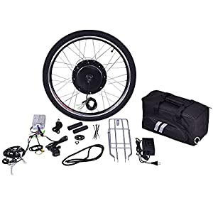 "Goplus 26"" Front Wheel or Rear Wheel E Bike Conversion Kit Electric Bicycle Motor Kit Bicycle Accessories Set or w/ PAS System, 48V 1000W or 36V 500W"
