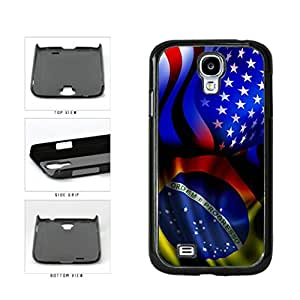 Brazil and USA Mixed Flag Plastic Phone Case Back Cover Samsung Galaxy S4 I9500