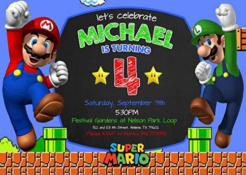 Super Mario Birthday Invitation -