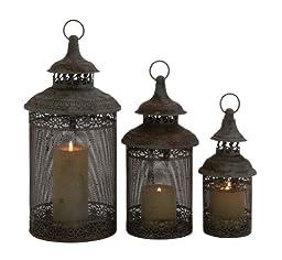 Benzara Rustic Finish Stylish Metal Candle Lantern