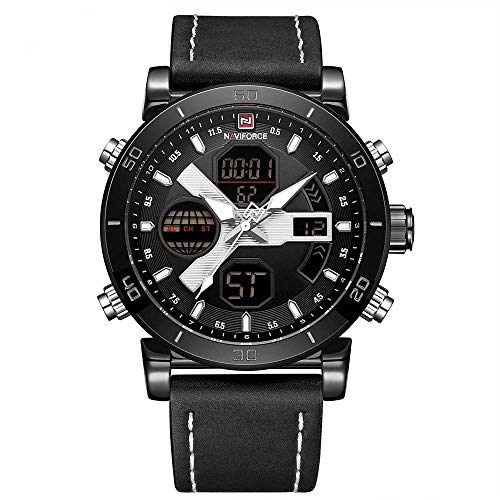 IF.HLMF Men's Belt Watch, Luminous Day Display Alarm Clock Calendar Multi-Function Quartz Watch, Sports and Leisure Waterproof Electronic Watch
