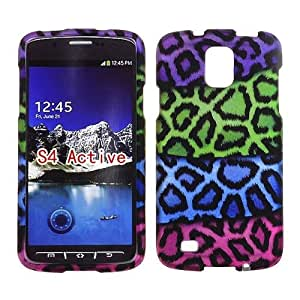 2D Rainbow Leapord Samsung Galaxy S IV, 4 Active / i537 AT&T Case Cover Phone Snap on Cover Case Protector Faceplates