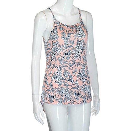 verano hombro con floral casual de verano tirantes Camisas Blusa mujeres fresco las traje sin para manga sexy de Mujer suave ❤️ ❤️ citas B desnudo y Sonnena Actividades Suelto impresión x6PSXaw1