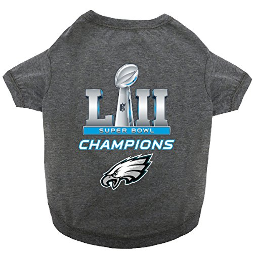 NFL 2018 SUPER BOWL LII CHAMPIONSHIP PET TEE SHIRT. PHILADELPHIA EAGLES winning the 52nd Super Bowl DOG TEE SHIRT. LIMITED EDITION DOG & CAT CHAMPS SHIRT. (X-Small Championship Shirt for Dogs & Cats)