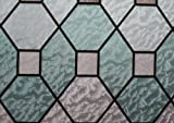 Hosho Geometric Stained Glass Decorative Non-Adhesive Privacy Window Film 3 FT x 5 FT