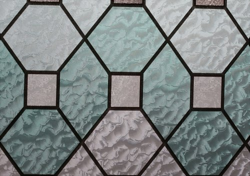 Homeartist Geometric Stained Glass Decorative Non-Adhesive Privacy Window Film 3 FT x 10 FT