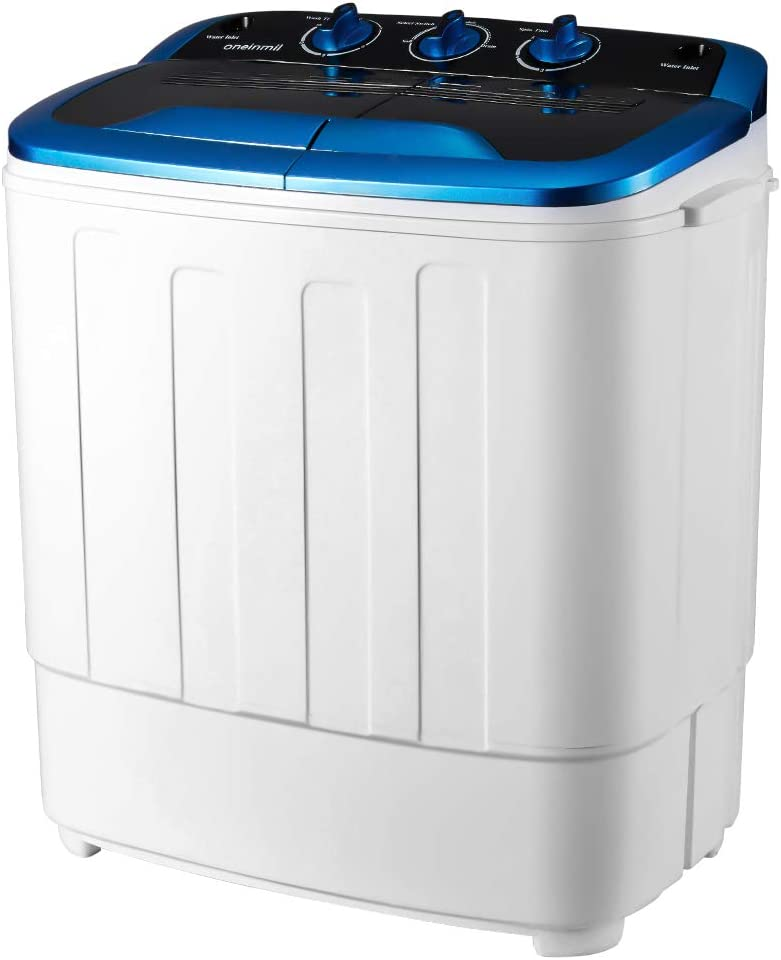 Camping etc RVs White//Black HOMHUM Portable Mini Compact Twin Tub Washing Machine w//Wash and Spin Cycle Apartments 17lbs 2IN1 Washer Spin Dryer Ideal for Dorms