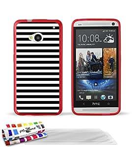 """Carcasa Flexible Ultra-Slim HTC ONE / M7 de exclusivo motivo [Marinero Negro] [Roja] de MUZZANO  + 3 Pelliculas de Pantalla """"UltraClear"""" + ESTILETE y PAÑO MUZZANO REGALADOS - La Protección Antigolpes ULTIMA, ELEGANTE Y DURADERA para su HTC ONE / M7"""