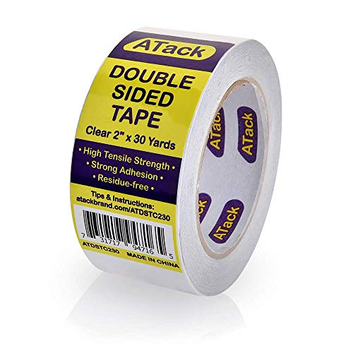 ATack Clear Double-Sided Tape, Easy Tear by Hand, 2 Inches x 30 Yards, Wall Safe Heavy Duty Double Sides Self Sticky Wall Fabric Tape for Wood Templates, Furniture, Leather, Curtains and Craft