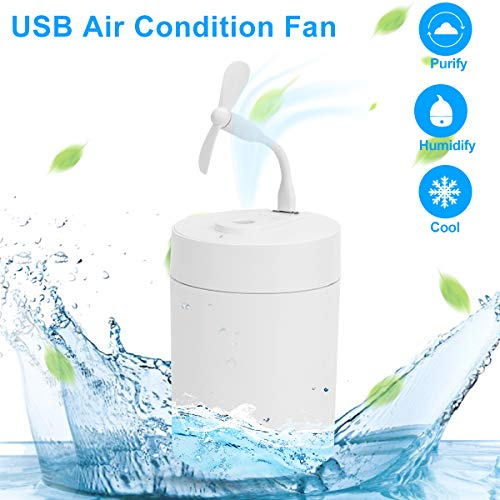 Diffuserlove 2 In 1 Mini Fan Portable and Flexible USB Fan Quiet Multi-fuction Cooling Fan & Humidifier Fit for Home Office Bedroom Car Travel