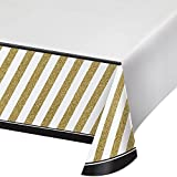 Creative Converting 318098 Border Print Plastic Tablecover, 54 x 102, Black and Gold (2-Pack)