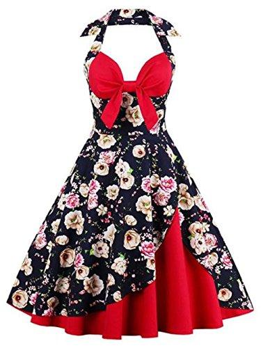 Bevalsa Femmes Halter Neck Rockabilly Swing Cocktail Dress Annes 50 Vintage Retro Dentelle Robe Petticoat Pliss Jupe Swing Polka Dots Pin-Up Rockabilly Taille de la Robe S-4XL Color 9