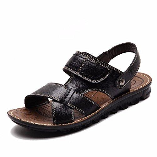 Sommer Männer Sandalen Freizeit Schuh Strand Schuh Leder Sandalen Echtleder Sandalen Männer Schuh Trend Dualer Gebrauch Sandalen ,schwarz1,US=10,UK=9.5,EU=44,CN=46