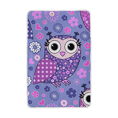 Vantaso Soft Blankets Throw Purple Pink Blue Flowers and Owls Microfiber Polyester Blankets for Bedroom Sofa Couch Living Room for Kids Children Girls Boys 60 x 90 inch by Vantaso (Image #5)