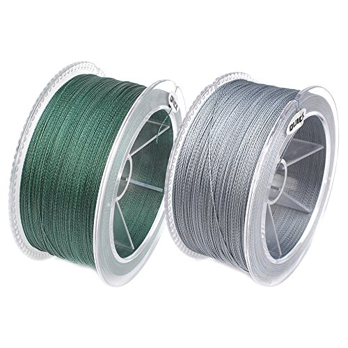Dr.Fish Fishing PE 4 Strand Braided Lines 10-100Lb 329 Yds Smaller Diameter 30% Thinner Super Power Superline Strength Moss Green, Grey