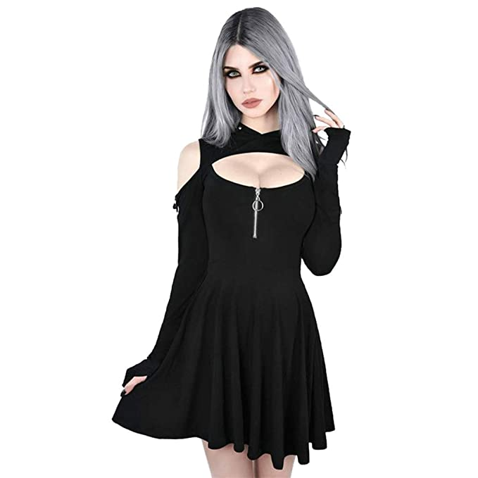 YFancy Women\'s Plus Size Dresses Fashion Gothic Pure Color ...